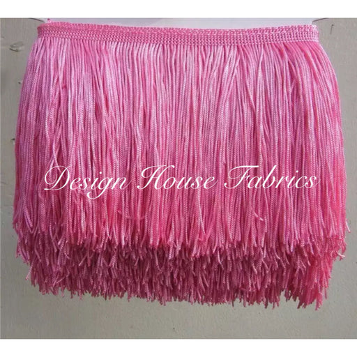 Chainette Fringe Lace Trim 4in- Pink