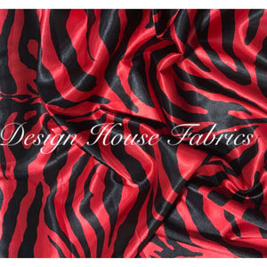 Charmeuse Satin Print - Red