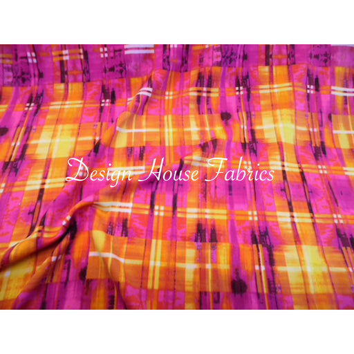 Plaid Print Spandex- Orange