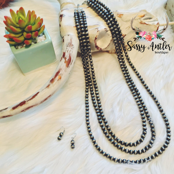 Multi-Strand Long Faux Navajo Pearl Necklace