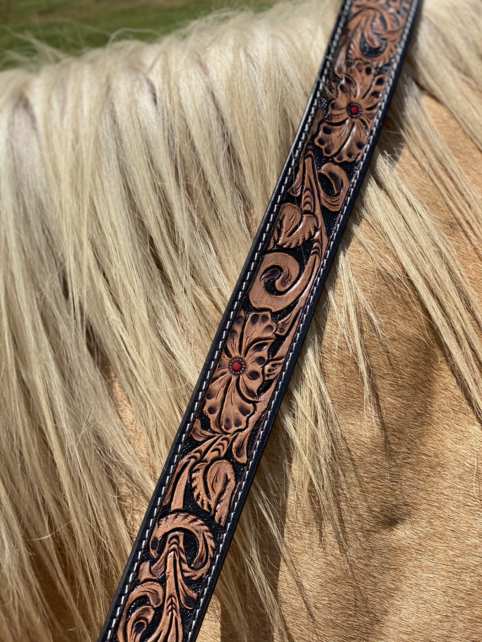 Tooled Leather Strap ~ Black/Brown