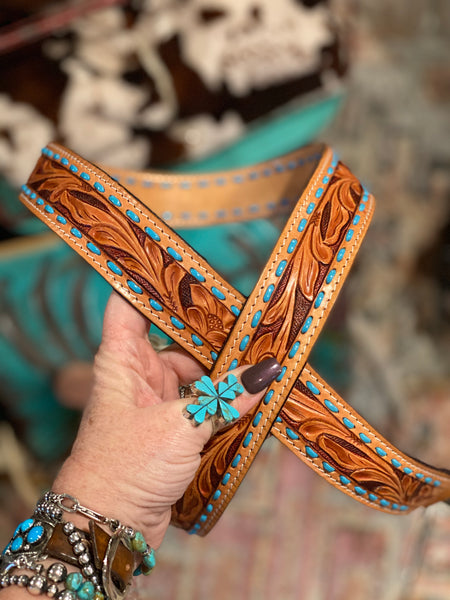 Tooled Leather Purse Strap ~ Turquoise Buck Stitch
