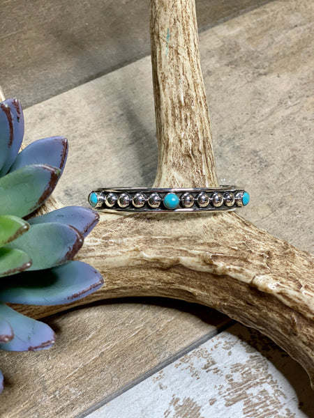 Turquoise & Silver Ball Cuff