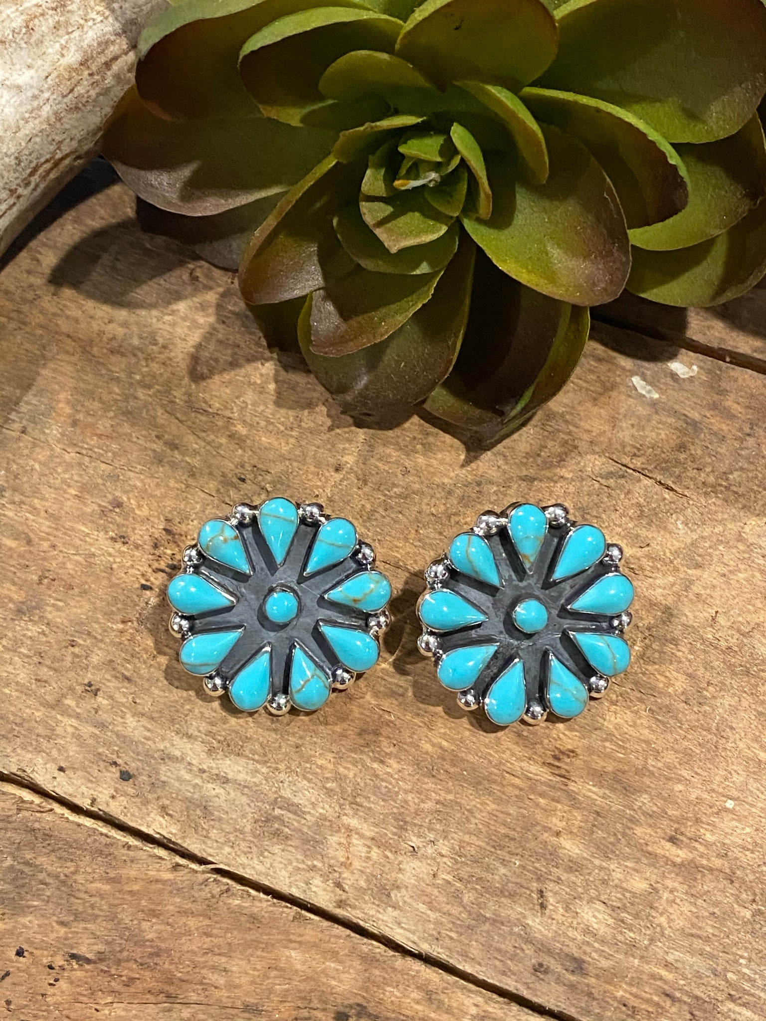 Rhonda Cluster Earrings ~ Turquoise