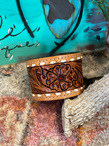 Tooled Leather Cuff ~ Brown
