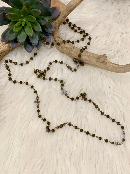 CC Cross Necklace ~ Green