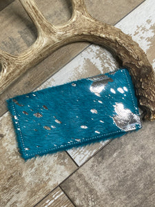 Checkbook Cover ~ Turquoise Acid Wash
