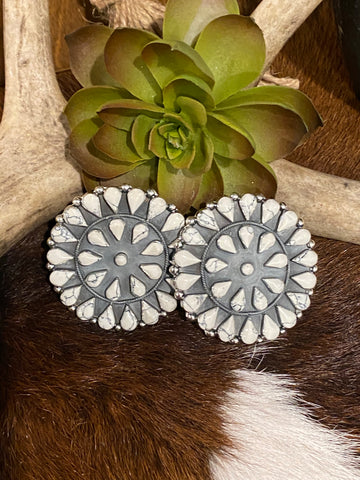 White Howlite Cluster Earrings ~ X-Large