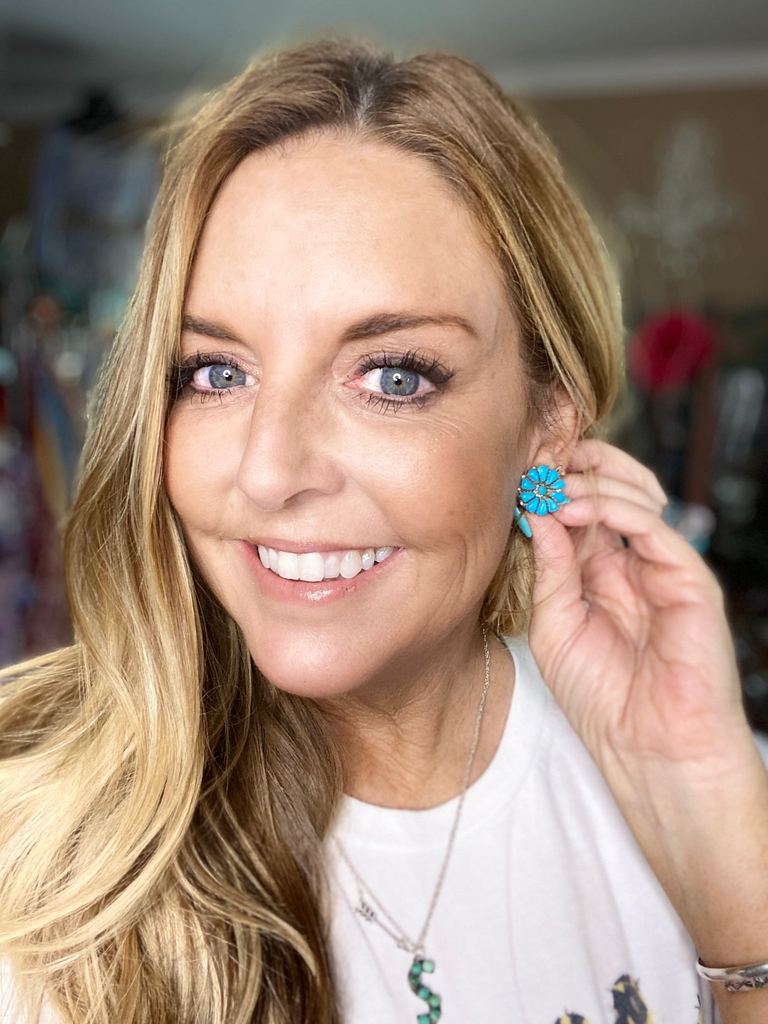 Turquoise Cluster Earring ~ Small