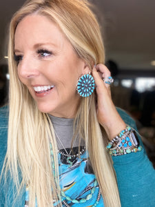 Authentic Turquoise Cluster Earrings ~ X-Large