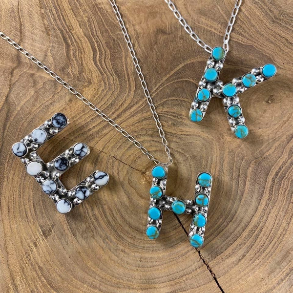 Authentic Initial Necklace ~ Turquoise