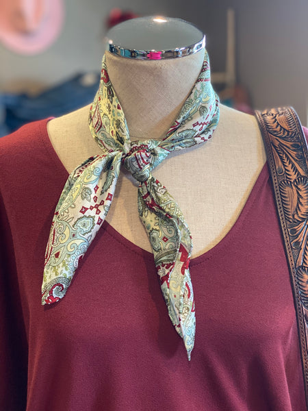 Western Scarf ~ Paisley Mint