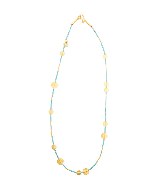 Ara Turquoise and 24kt Gold Disc Necklace