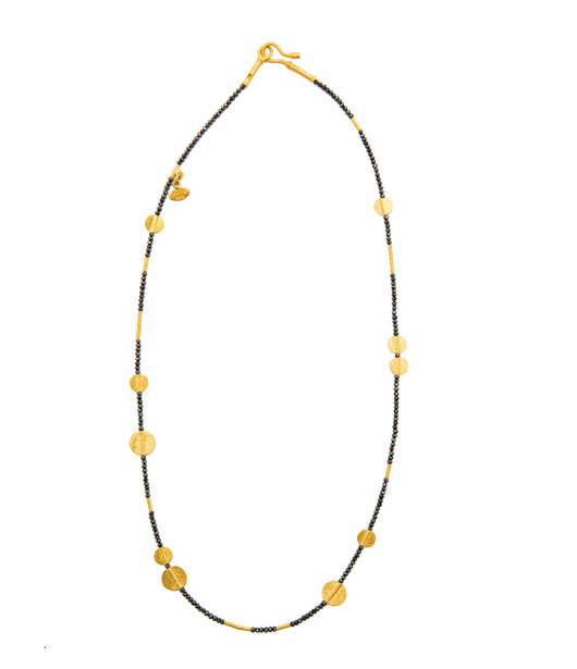 Ara 24K Black Diamond and Gold Disc Necklace