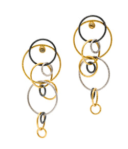 Ara 24K Silver and Gold Circle Chandelier Earrings