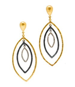 Ara 24K Mixed Metal Triple Oval Earrings