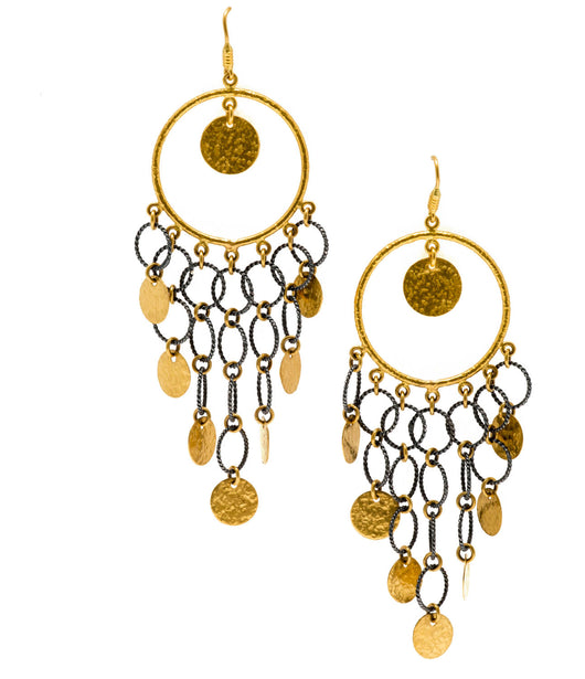 Ara 24K Gold and Silver Multi Disc Earrings