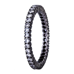 Sethi Couture White Diamond and Black Rhodium Prong Set Eternity Band