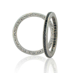 Sethi Couture Black Diamond and White Gold Channel Set Eternity Band
