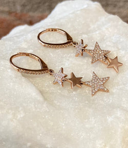 Andi Alyse Rose Gold and Diamond Hanging Star Earrings