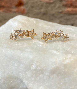 Andi Alyse Yellow Gold and Baguette Diamond Star Earrings