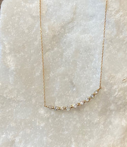 Andi Alyse Yellow Gold and Graduated 9 Diamond Necklace