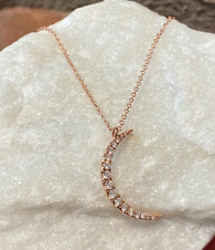 Andi Alyse Diamond Crescent Moon and 14kt Rose Gold Necklace