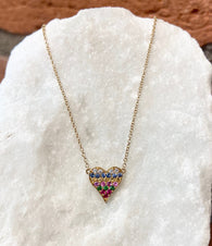 Andi Alyse Rainbow Sapphire and Diamond Yellow Gold Heart Necklace