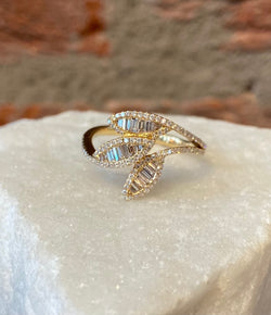 Andi Alyse Yellow Gold and Diamond Leaf Ring