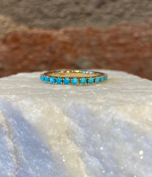 Andi Alyse Turquoise and Yellow Gold Eternity Band
