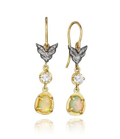 Annie Fensterstock White Sapphire and Opal Wing Earrings