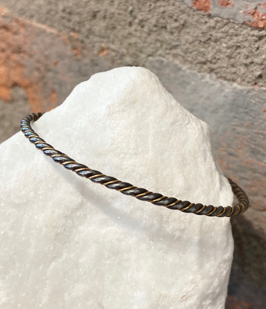 Ara 24kt Gold and Oxidized Sterling Silver Twist Bangle