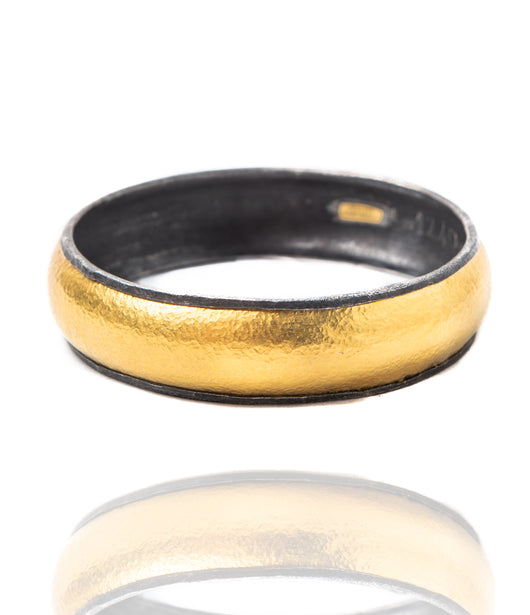 Ara 24kt Gold and Oxidized Silver Thick Bangle