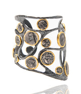 Ara Silver Coin Replica and 24kt Gold Wide Cuff