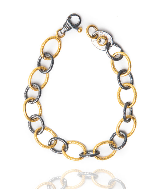 Ara 24kt Gold and Oxidized Silver Link Bracelet