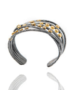 Ara White Sapphire, 24kt Gold and Oxidized Silver Cuff