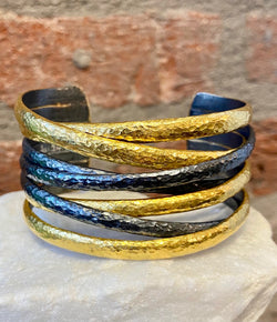 Ara 24kt Gold and Oxidized Silver Criss-Cross Cuff Bracelet