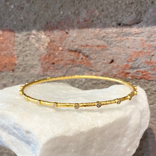 Ara White Diamond and 24kt Gold Bangle