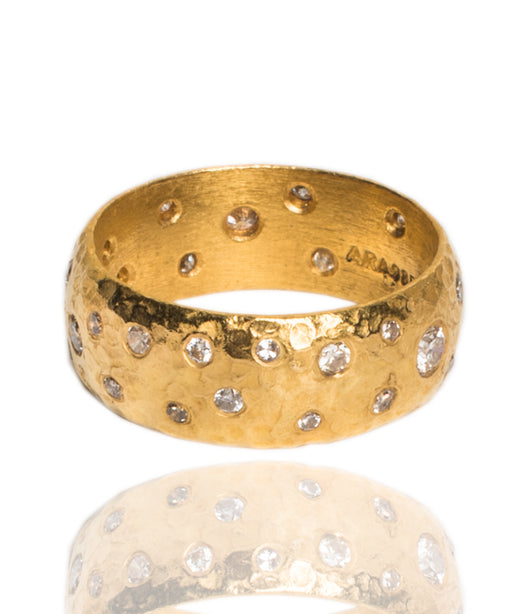 Ara Scattered Diamond and 24K Gold Eternity Ring