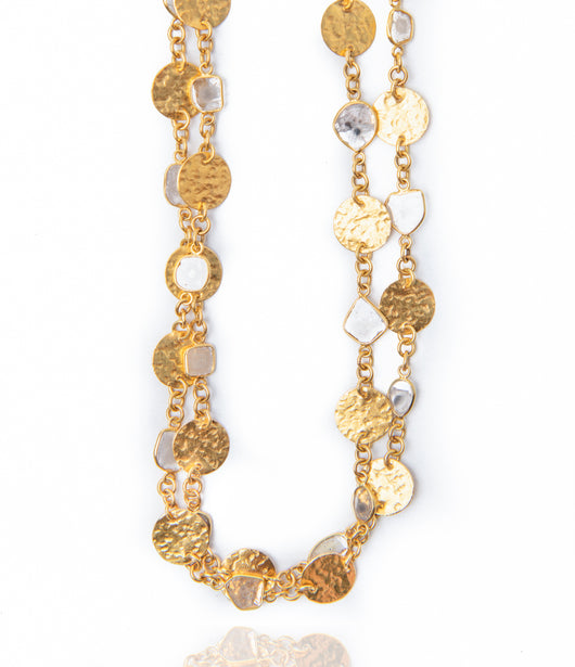 Sliced Diamond and 24kt Gold Long Necklace