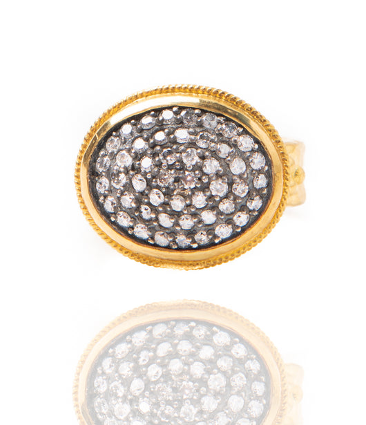 Ara Pave Diamond and 24kt Gold Oval Ring