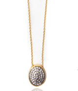 Ara Pave Diamond and 24kt Gold Oval Necklace