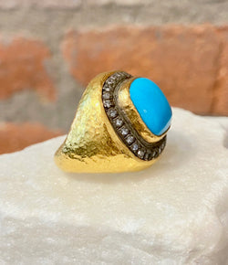 Ara Turquoise Center Stone and 24kt Gold Ring