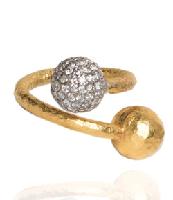 Ara Pave Diamond and 24K Gold Double Ball Circle Ring