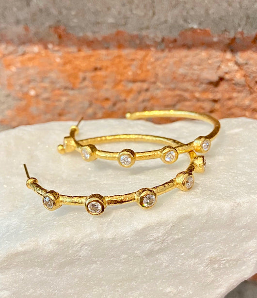 Ara White Diamond and 24kt Gold Hoop Earrings