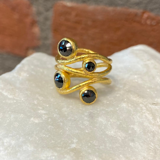 Ara Black Diamond and 24kt Gold Wrap Ring