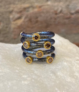 Ara Brown Diamond, 24kt Gold and Oxidized Silver Spiral Ring