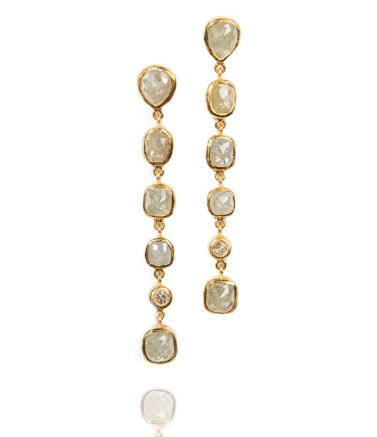 Ara Raw Diamond and 24kt Gold Dangle Earrings