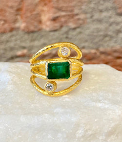 Ara Emerald, Diamond and 24kt Gold Wrap Ring