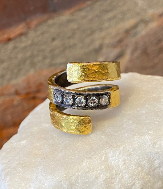 Ara 3 Row Diamond and 24kt Gold Spiral Ring